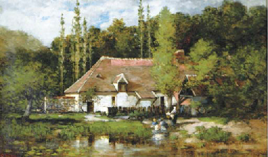 A cottage by a lake, Picardy