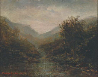 View of a valley at dusk