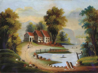 A landscape with a house by a