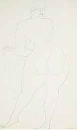 Standing nude, seen from behin