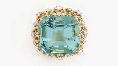 A GREEN BERYL, DIAMOND AND GOL