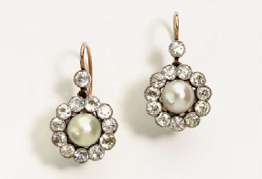 A PAIR OF ANTIQUE PEARL, DIAMO