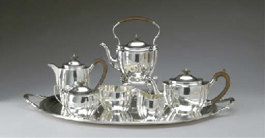 A GEORGE V SILVER TEA AND COFF