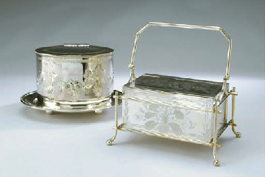 TWO ENGLISH SILVER-PLATED BISC