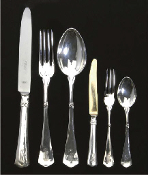 A GERMAN SILVER FLATWARE SERVI