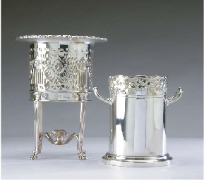 TWO SILVER-PLATED WINE COASTER
