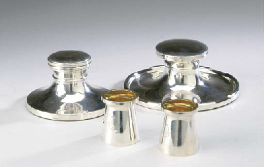 TWO GEORGE V SILVER INKWELLS A