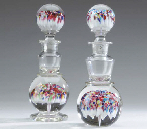 A PAIR OF PAPERWEIGHT BLOWN GL