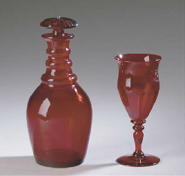 A SET OF SIXTEEN RUBY GLASS GO