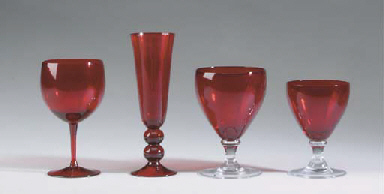 AN ASSEMBLED CRANBERRY GLASS P