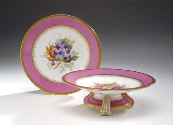 A ROYAL WORCESTER PINK-GROUND