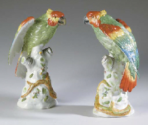 A PAIR OF FRENCH PAINTED PORCE