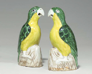 A SMALL PAIR OF GREEN AND YELL