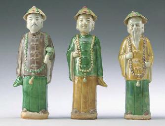THREE CHINESE SANCAI-GLAZED PO