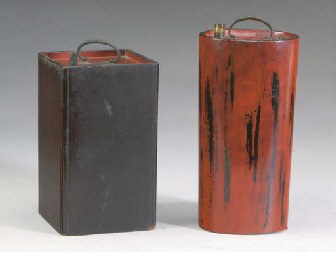 TWO JAPANESE LACQUERED SAKE CO