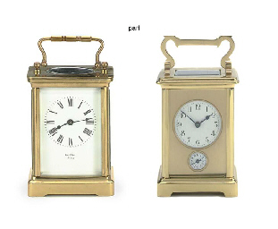 Two French brass carriage time