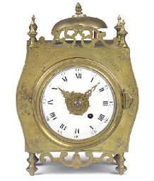 A Belgian brass mantel timepie