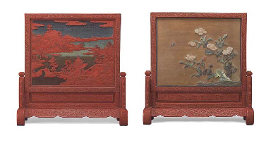 A CARVED CINNABAR LACQUER AND HARDSTONE-EMBELLISHED TABLE SCREEN AND STAND