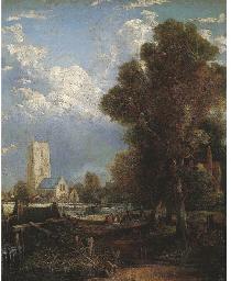 Paesaggio con fiume e catedral