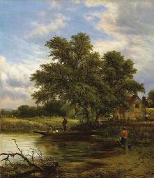 Paesaggio fluviale con barca e