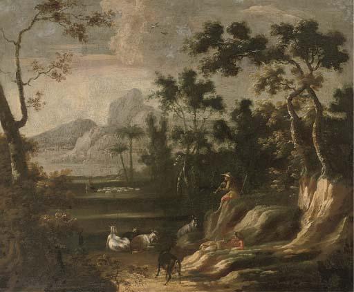 Лесистый пейзаж с пастухами