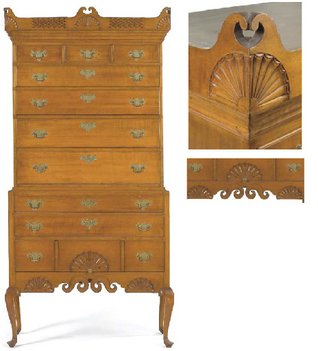 Typical Dunlap High Chest sold at Christies for 102K