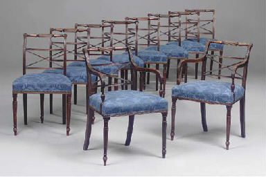 A SET OF TEN LATE REGENCY MAHOGANY DINING CHAIRS