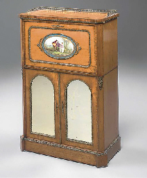 A VICTORIAN GILT-METAL AND PORCELAIN MOUNTED MAPLE AND TULIP...