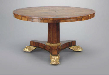 A REGENCY STYLE OAK, ROSEWOOD, TULIPWOOD AND PARCEL-GILT BREAKFAST TABLE