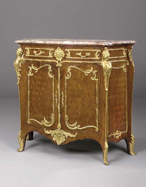 A louis xv style gilt bronze mounted kingwood satin cube parquetry and bois - Meuble style louis xv ...