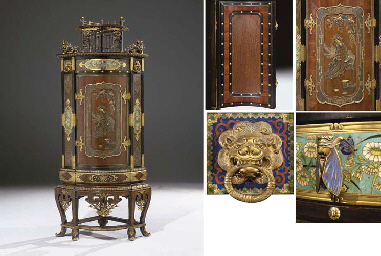 a highly important french 'japonisme' ormolu, patinated bronze, cloisonne enamel, silvered, gilt and copper 'galvanoplastie'-mounted palissander and ebony encoignure cabinet-on-stand