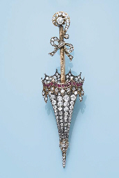 AN ANTIQUE DIAMOND AND RUBY 'UMBRELLA' BROOCH
