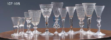 A Dutch engraved Friendship glass goblet and a Dutch engraved goblet