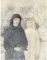 Two girls with a bird