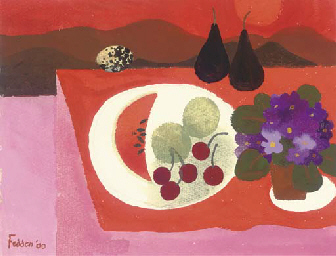 Still life with fruit and pans