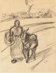 Une femme avec un âne