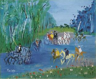 Calèches et cavaliers au Bois