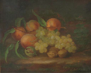 Still Life with Peaches, Grape