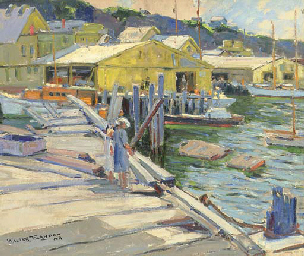 Figures Along a Dock
