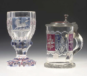 A BOHEMIAN GOBLET AND A PEWTER