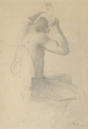 Seated Figure Wrapping his Hea