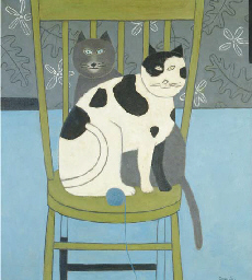 Two Cats on a Green Chair