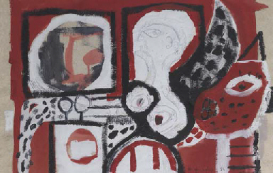Untitled (Red, Black and White