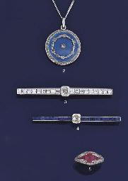 A rose-cut diamond and enamel