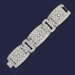An Art Deco diamond panel brac
