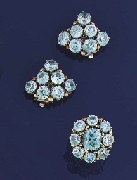 A blue zircon ring and earclip