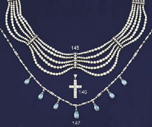 A diamond and aquamarine neckl
