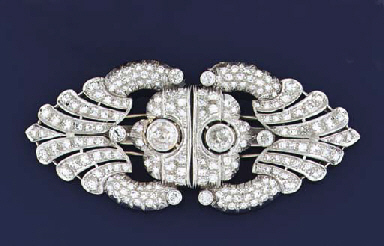 An Art Deco diamond double cli