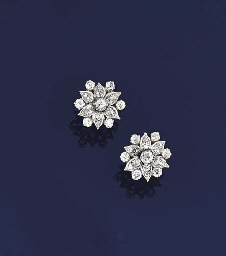 A pair of diamond cluster ears