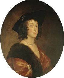 Portrait of Katherine, Lady Stanhope, later Countess of Chesterfield, half-length, in a black hat and a russet dress with a fur stole